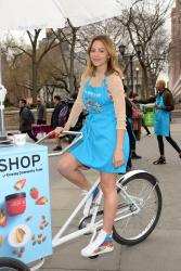 Katharine McPhee - The Body Shops new Body Yogurts cart in NYC 4/13/18