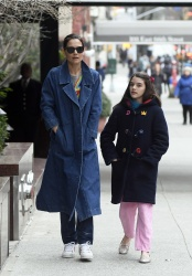 Katie Holmes - Taking a walk with her daugther Suri in New York 03/13/2019