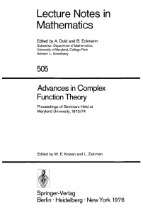 Advances in Complex Function Theory- Proceedings of Seminars