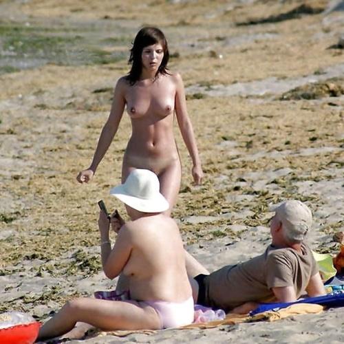 Beautiful naked women on the beach