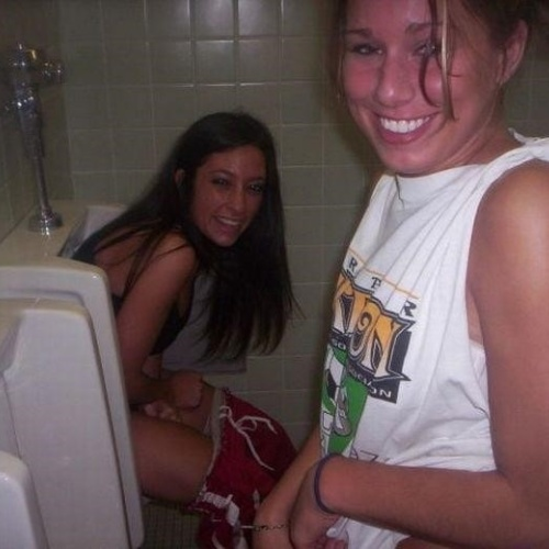 Nude girls peeing in public