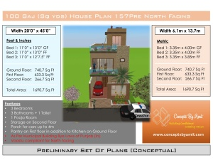 HOUSE PLAN CBA 157 Vaastu Compliant North Facing 100 SQ YDS (CBA EBK)