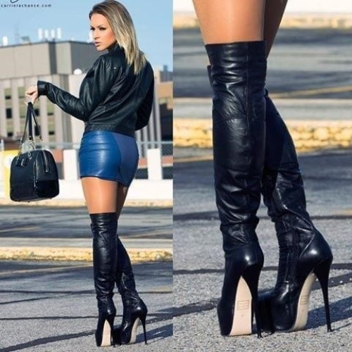 Leather skirt blue