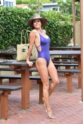 Brooke Burke Nipply in a Swimsuit in Malibu June 17, 2019