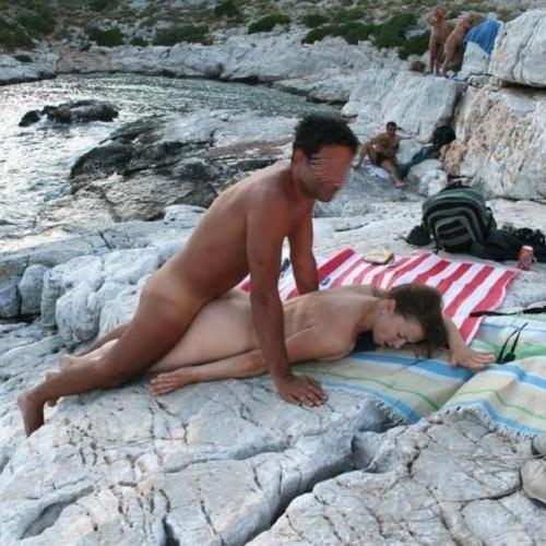 Public threesome porn