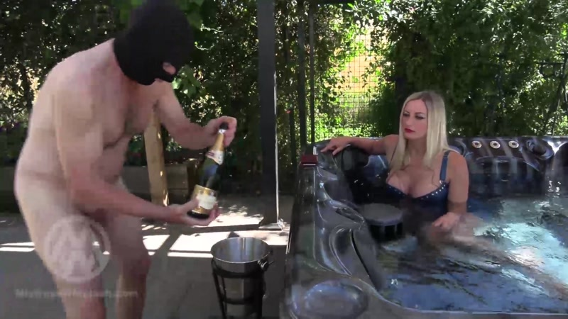 Mistress Nikki Whiplash starring in video (Warm champagne shower) [FullHD 1080P]