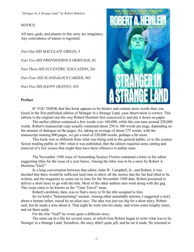 Stranger in a Strange Land - Robert A Heinlein
