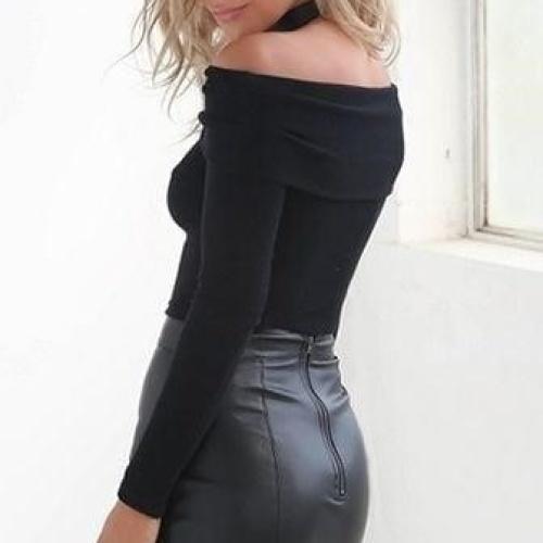 Sexy leather mini skirt
