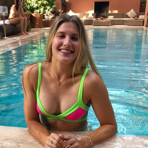 Genie Bouchard - in a bikini at the pool - 07/25/2018