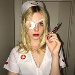 Elle Fanning Dressed as a Nurse - 10/31/17