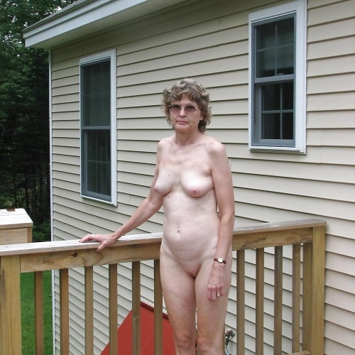 Naked mature women outside