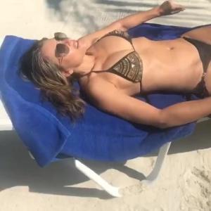 Elizabeth Hurley - Wears A Sparkly Gold Bikini GIFS (11/2/17)