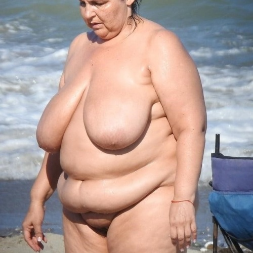 Chubby nude on beach