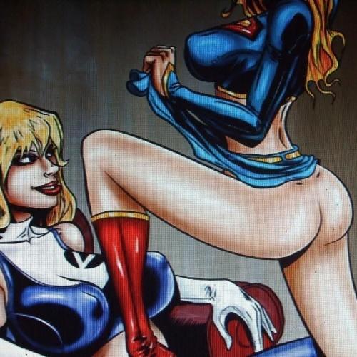 Superhero lesbian strapon
