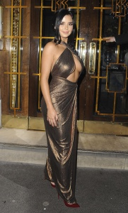 Demi Rose Mawby - Underboob While Leaving House of CB Christmas Dinner in London (11/21/17)