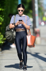 Lucy Hale in Black Tight Pants in Studio City, July 13, 2019