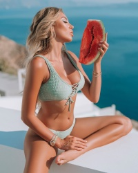 Khloe Terae Topless Watermelon Bikini September 19, 2019