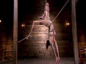 Hogtied Tall Tattooed Slut in Grueling Bondage is Blissfully Suffering - BDSM, Punishment, Bondage