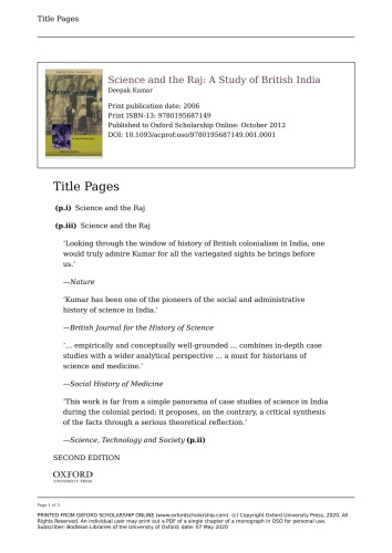 Science and the Raj A Study of British India