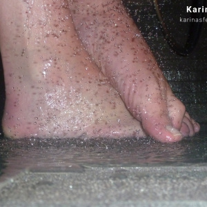 Foot model Karina shows here bare feet naked under the shower, female foot fetish pictures at Karina's Foot Blog