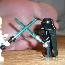 Foot model Karina bare feet, toes, soles, female foot fetish pictures with Lego Star Wars at Karina's Foot Blog