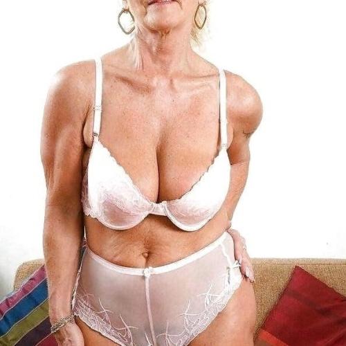 Mature women in white lingerie