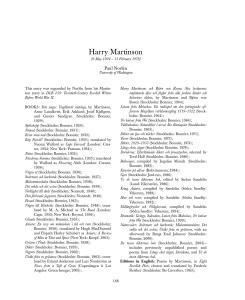 Biobibliography of Harry Martinson [from Nobel Laureates in Literature, DLB !1 (Ga...