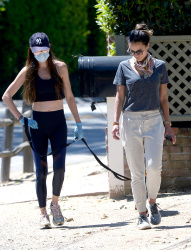 Jordana Brewster - Out for a walk with a friend in Los Angeles 04/29/2020