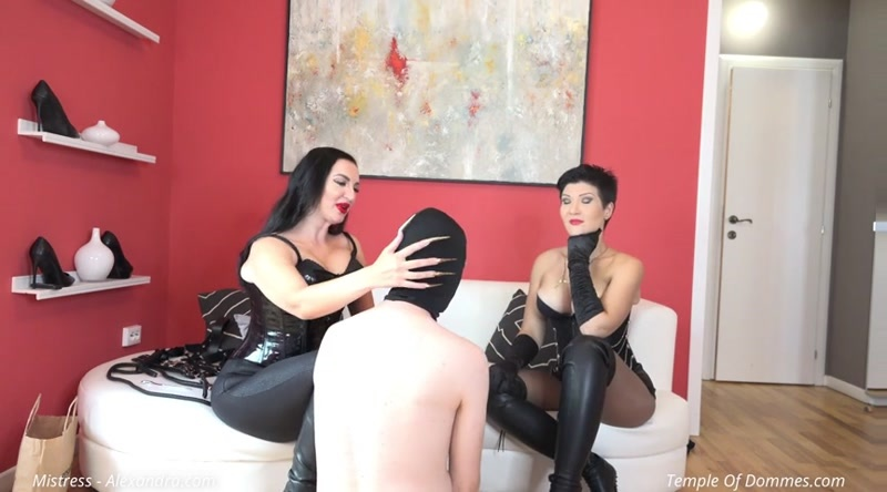 Mistress Alexandra and Domina Christinne starring in video (Delivery boy translormed into a slave) [SD 480P]