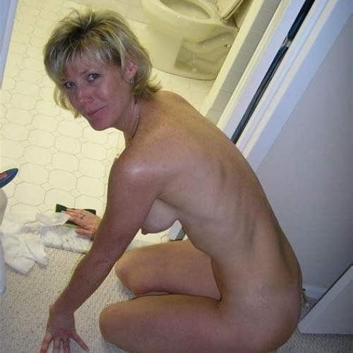 Wife cleaning naked