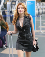 Bella Thorne 2015-10-08 Vancouver airport moto jacket dress HQ x45
