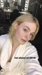 Elle Fanning Getting Ready For a Photoshoot - 1/10/18
