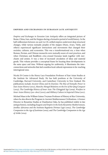 Empires and Exchanges in Eurasian Late Antiquity Rome China Iran and the Steppe ca...